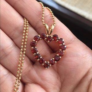 Gold plated 925 silver garnet heart pendant